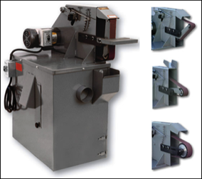 Bench model belt grinder machine for grinding, shaping, contouring and flat work.