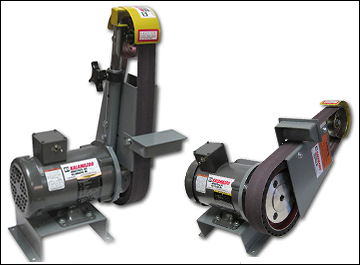 Belt grinder offers multi-position contact from vertical to horizontal and full work movement from left to right.